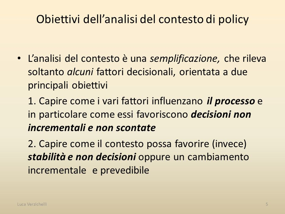 Obiettivi dell'analisi del contesto di policy