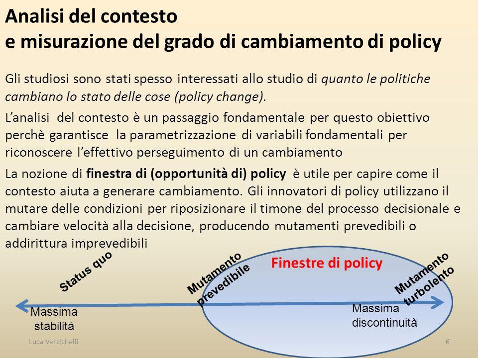 Analisi del contesto e misurazione del grado di cambiamento di policy