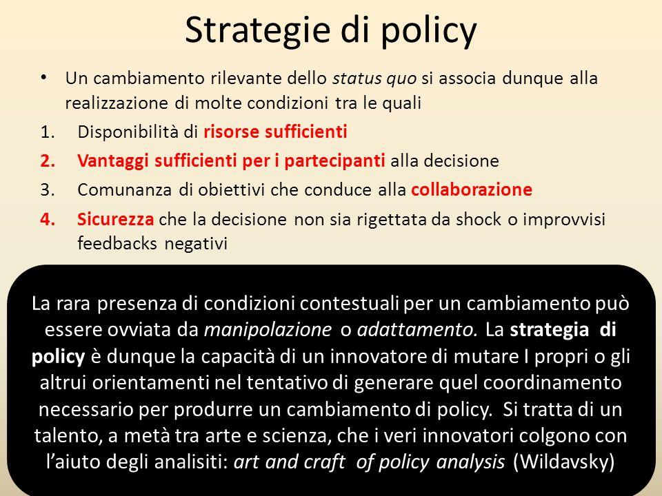 Strategie di policy Un cambiamento rilevante dello status quo si associa dunque alla realizzazione di molte condizioni tra le quali.