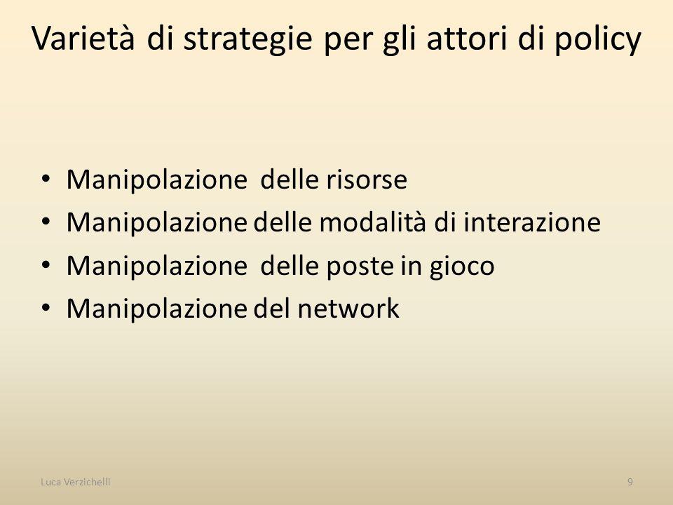 Varietà di strategie per gli attori di policy