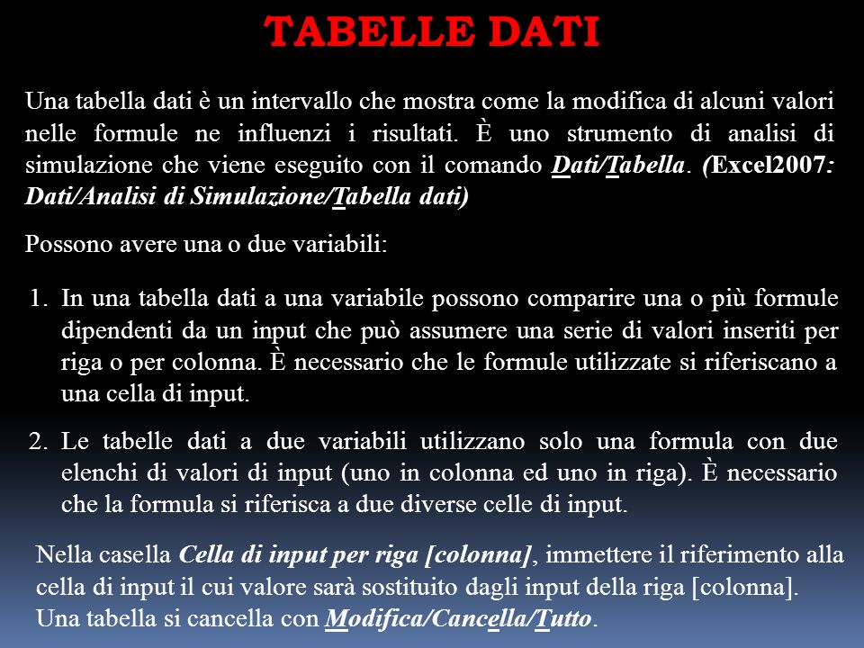 TABELLE DATI