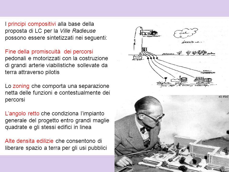 I principi compositivi alla base della proposta di LC per la Ville Radieuse possono essere sintetizzati nei seguenti: