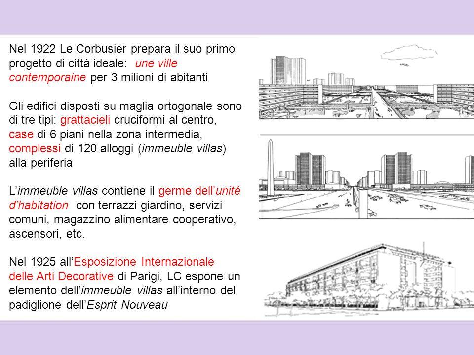 Nel 1922 Le Corbusier prepara il suo primo progetto di città ideale: une ville contemporaine per 3 milioni di abitanti