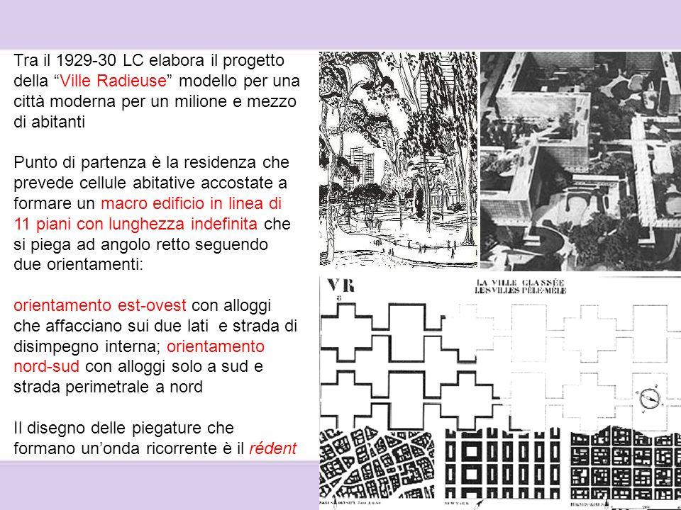 Tra il 1929-30 LC elabora il progetto della Ville Radieuse modello per una città moderna per un milione e mezzo di abitanti
