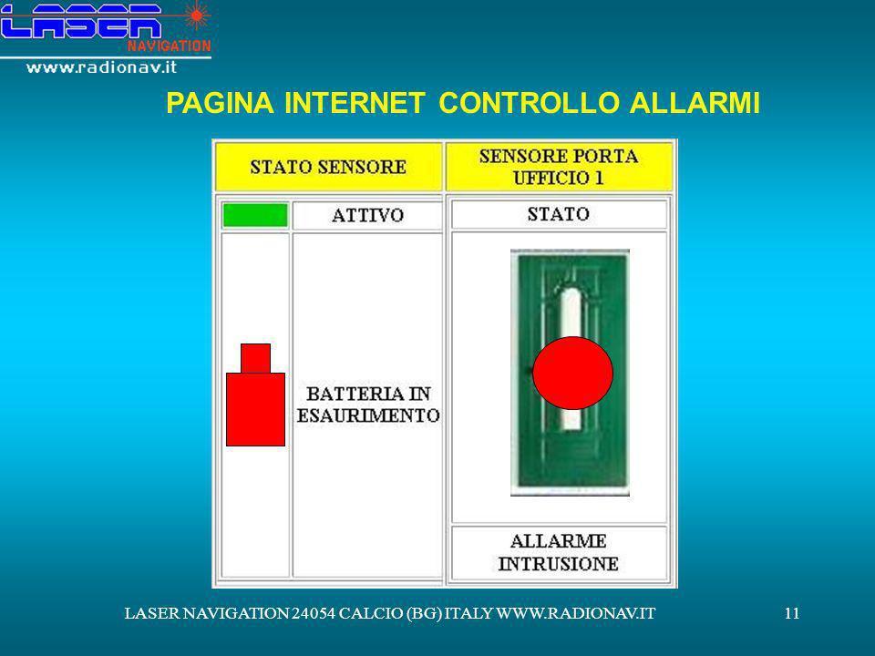 PAGINA INTERNET CONTROLLO ALLARMI