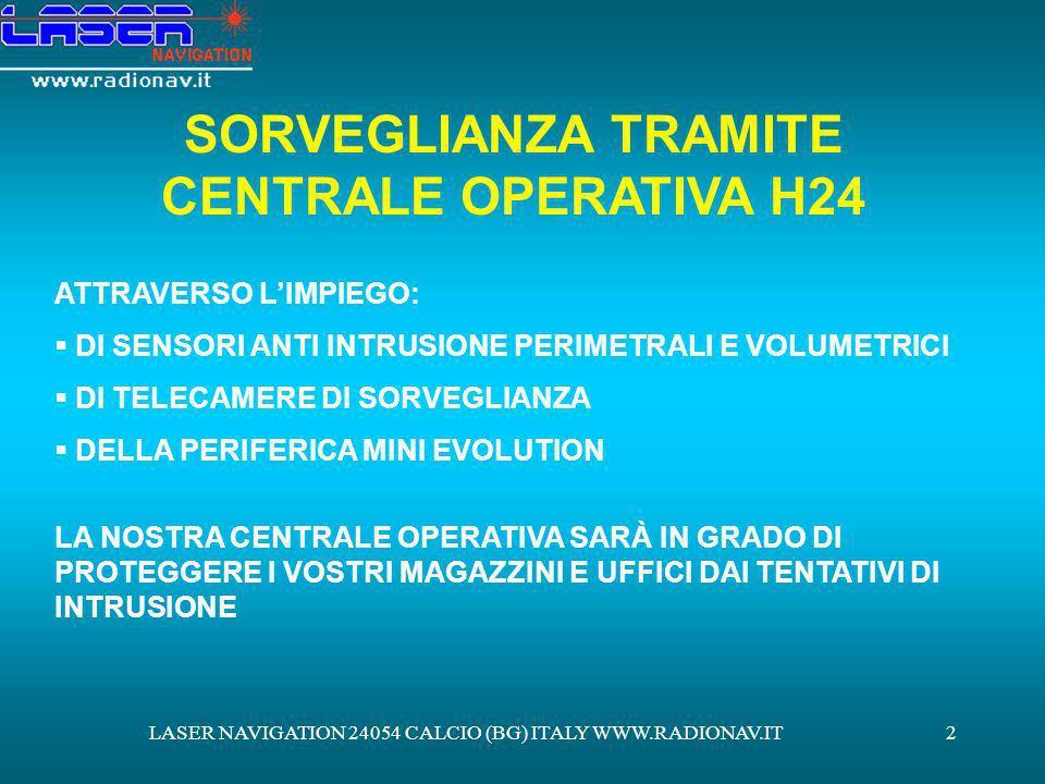SORVEGLIANZA TRAMITE CENTRALE OPERATIVA H24