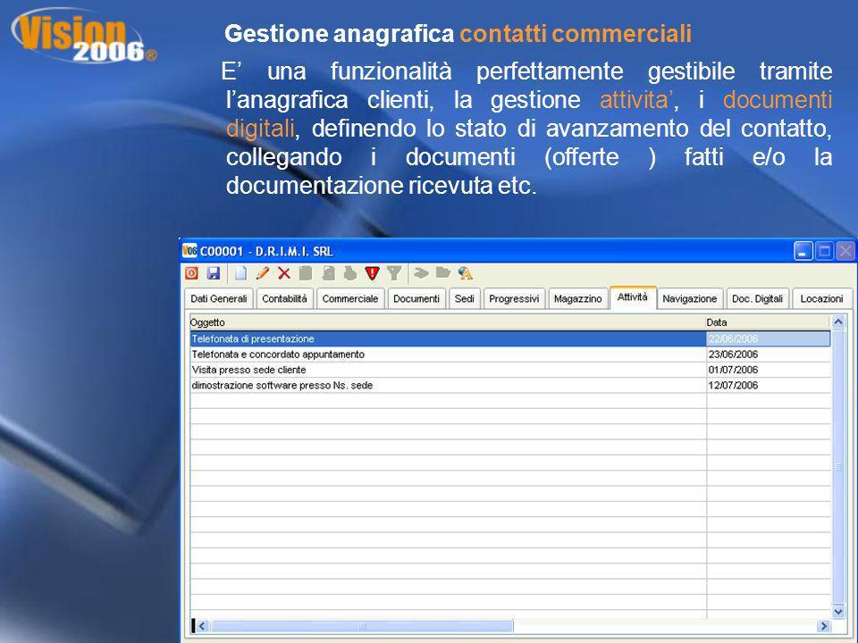 Gestione anagrafica contatti commerciali