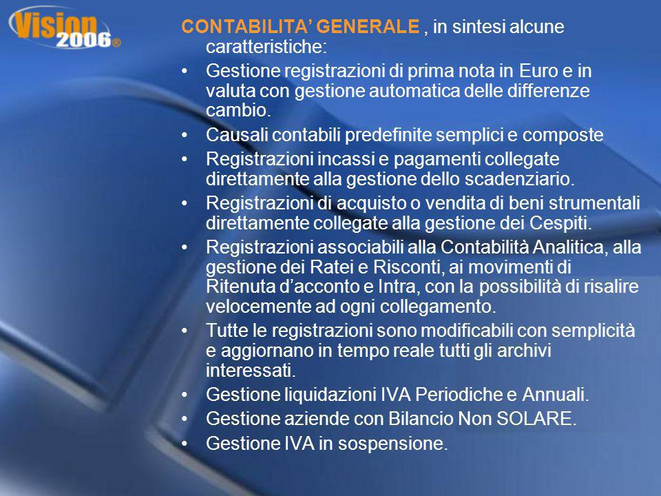 CONTABILITA' GENERALE , in sintesi alcune caratteristiche: