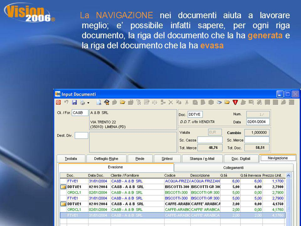 La NAVIGAZIONE nei documenti aiuta a lavorare meglio; e' possibile infatti sapere, per ogni riga documento, la riga del documento che la ha generata e la riga del documento che la ha evasa
