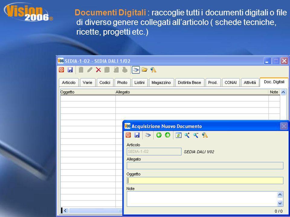Documenti Digitali : raccoglie tutti i documenti digitali o file di diverso genere collegati all'articolo ( schede tecniche, ricette, progetti etc.)
