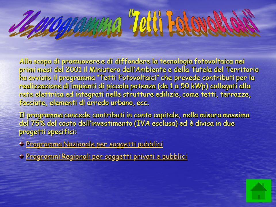 Il programma Tetti Fotovoltaici