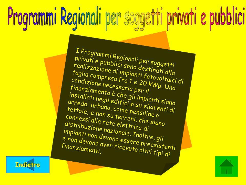 Programmi Regionali per soggetti privati e pubblici