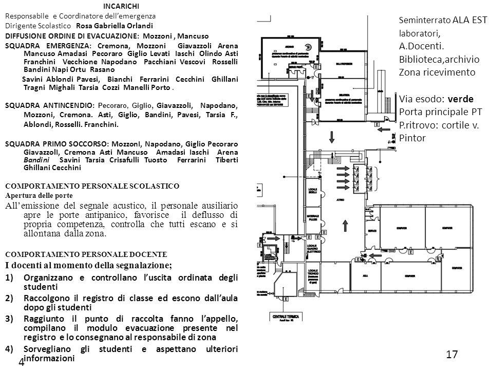 17 4 Biblioteca,archivio Zona ricevimento Via esodo: verde