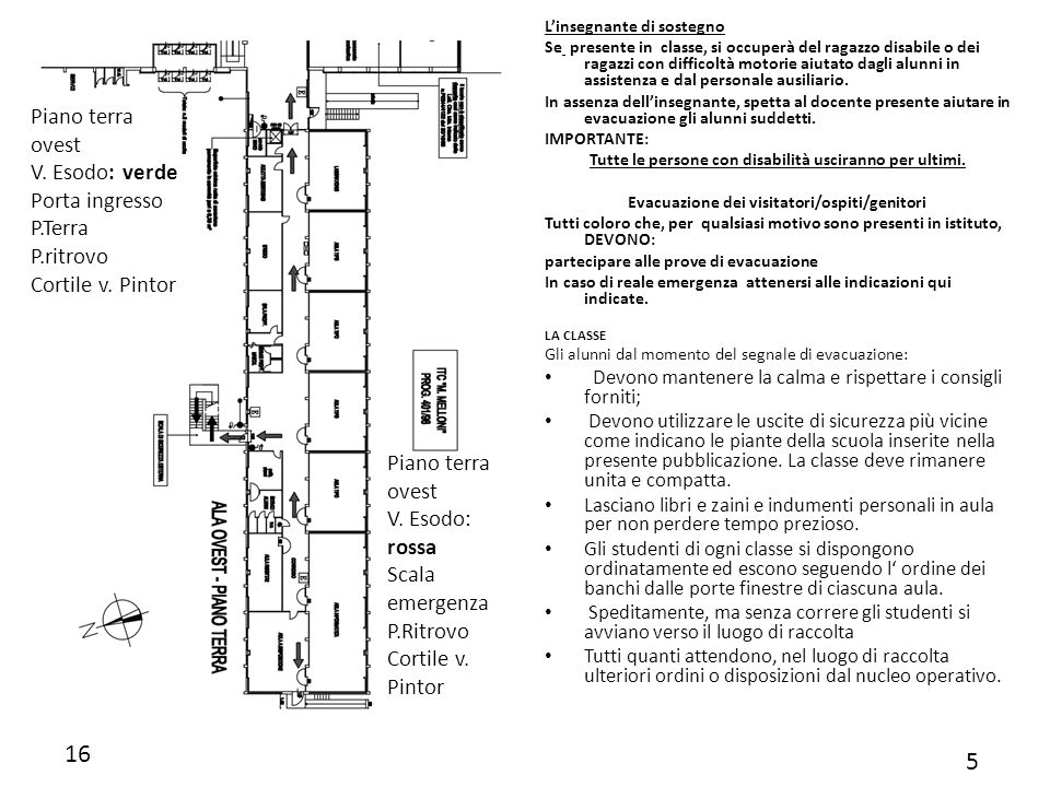 16 5 Piano terra ovest V. Esodo: verde Porta ingresso P.Terra