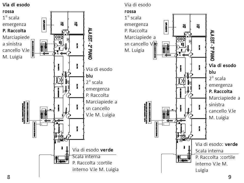 8 9 Via di esodo rossa 1° scala emergenza P. Raccolta