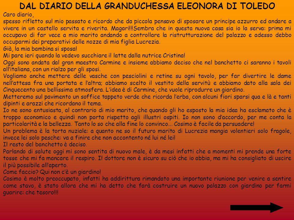 DAL DIARIO DELLA GRANDUCHESSA ELEONORA DI TOLEDO
