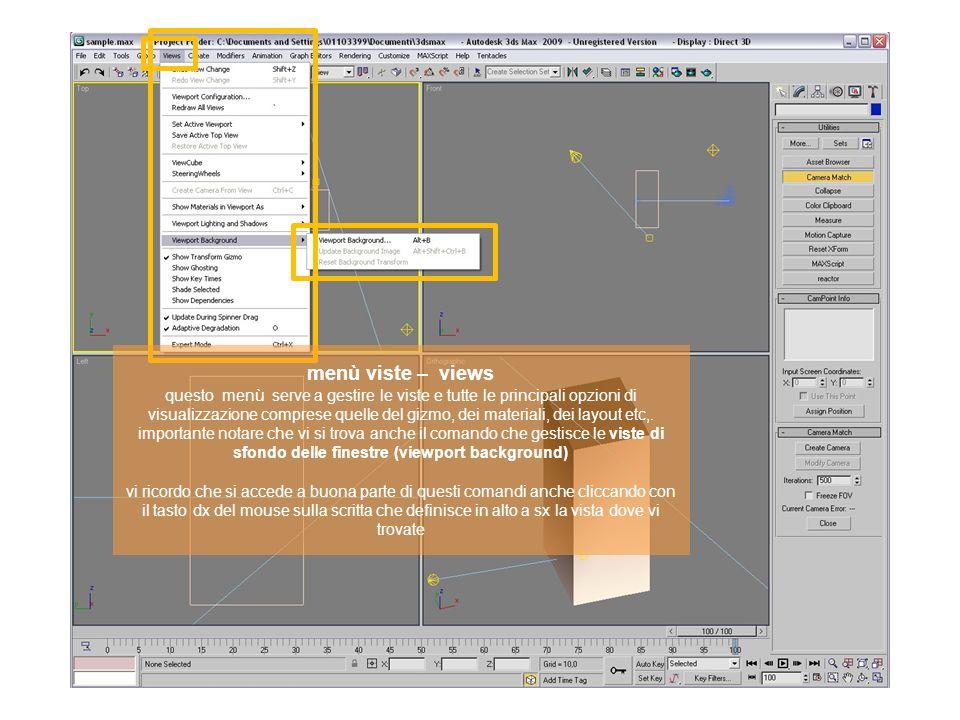 menù viste – views questo menù serve a gestire le viste e tutte le principali opzioni di visualizzazione comprese quelle del gizmo, dei materiali, dei layout etc,.