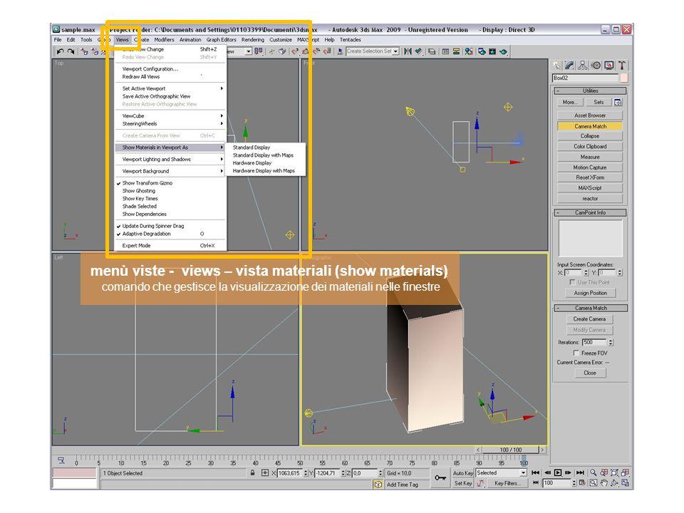 menù viste - views – vista materiali (show materials) comando che gestisce la visualizzazione dei materiali nelle finestre