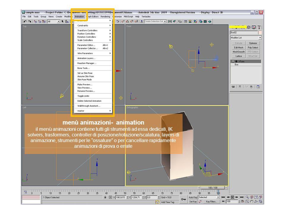 menù animazioni- animation il menù animazioni contiene tutti gli strumenti ad essa dedicati, IK solvers, trasformers, controller di posizione/rotazione/scalatura, layers di animazione, strumenti per le ossature o per cancellare rapidamente animazioni di prova o errate