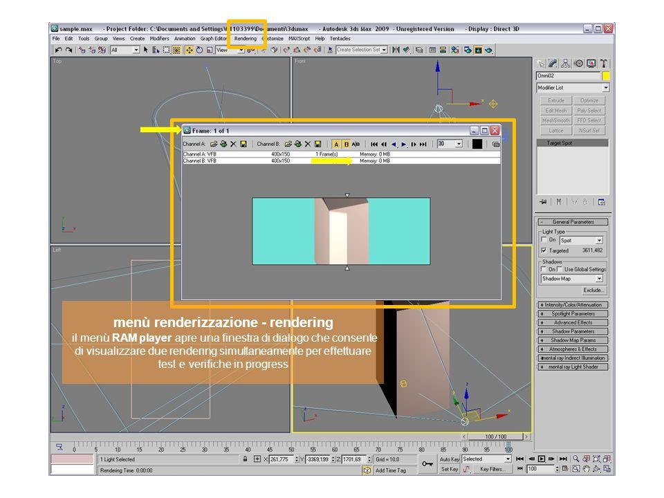 menù renderizzazione - rendering il menù RAM player apre una finestra di dialogo che consente di visualizzare due rendering simultaneamente per effettuare test e verifiche in progress