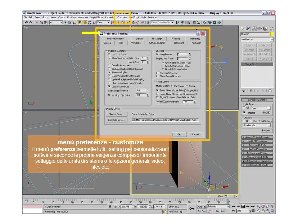 menù preferenze - customize il menù preferenze permette tutti i setting per personalizzare il software secondo le proprie esigenze compreso l'importante settaggio delle unità di sistema o le opzioni generali, video, files etc.
