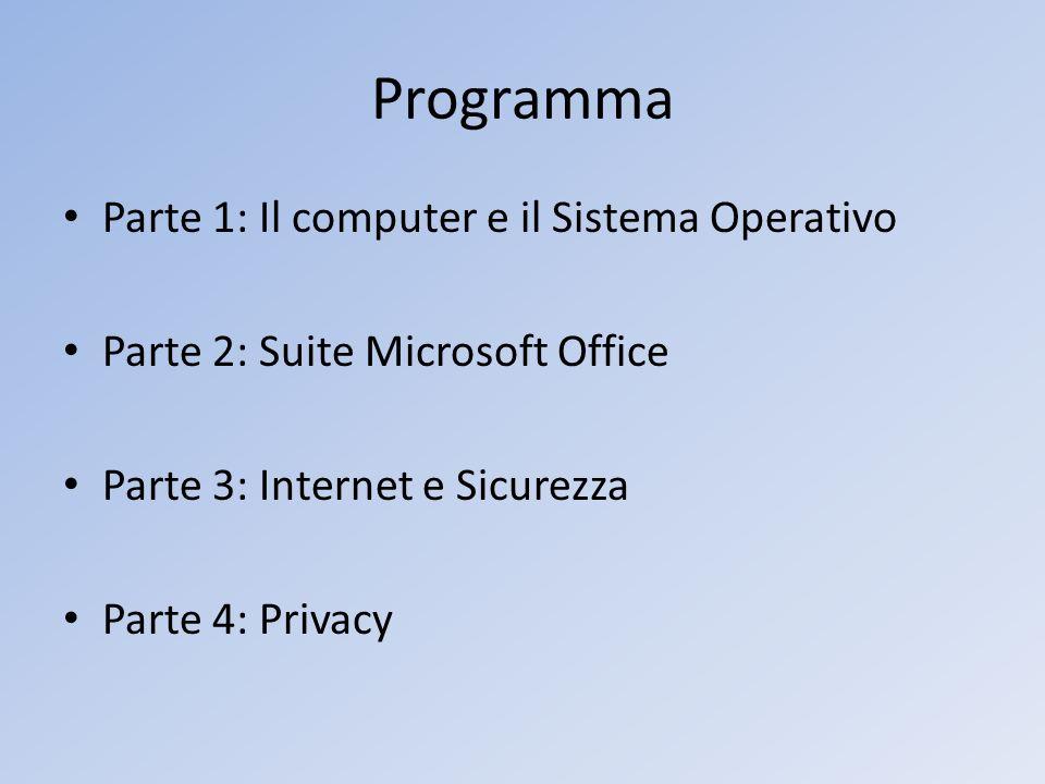 Programma Parte 1: Il computer e il Sistema Operativo