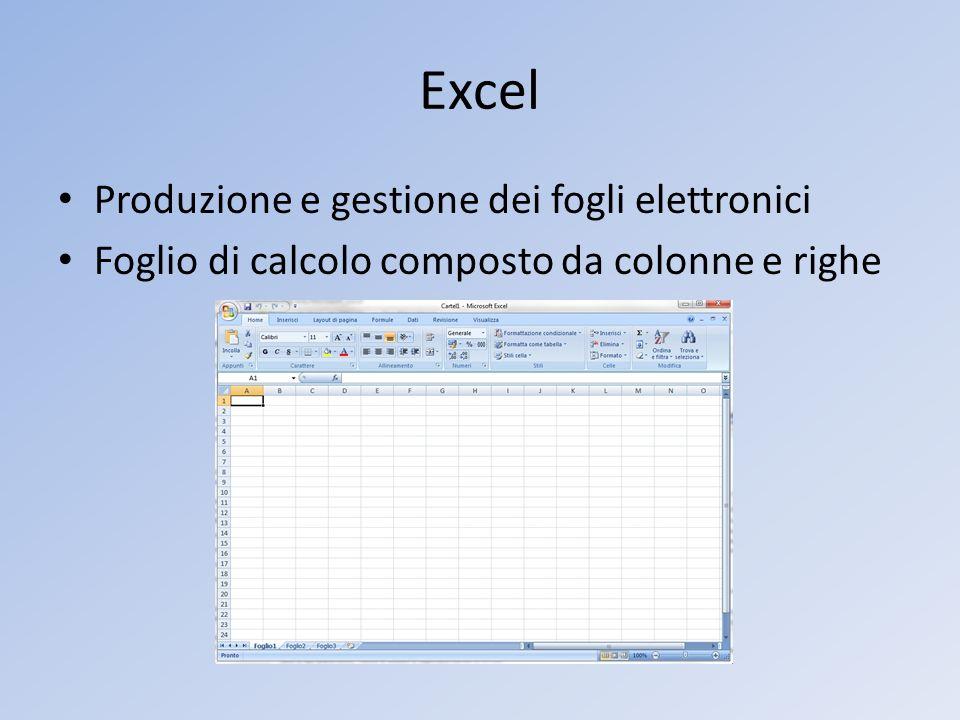 Excel Produzione e gestione dei fogli elettronici