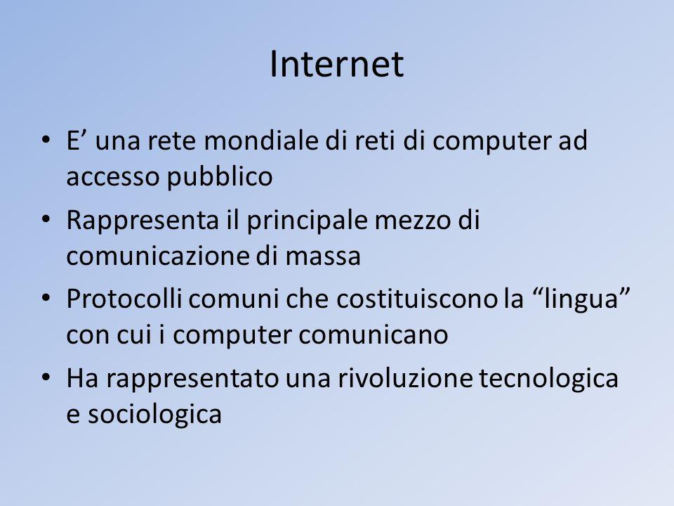 Internet E' una rete mondiale di reti di computer ad accesso pubblico