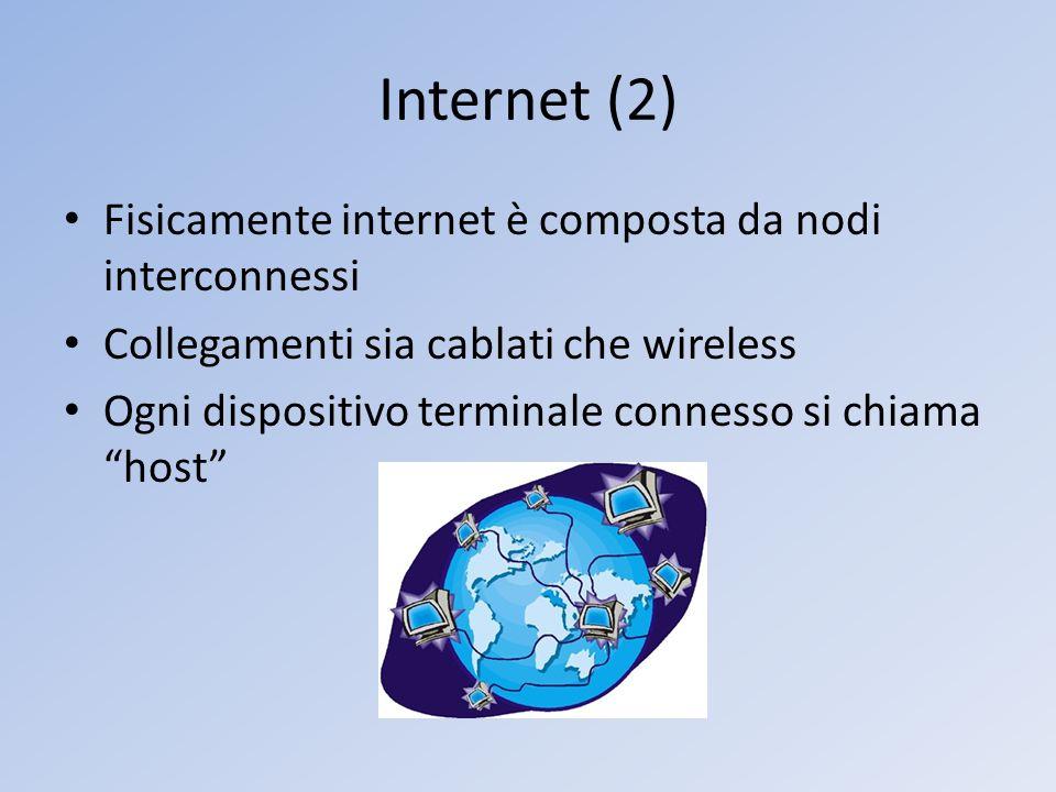 Internet (2) Fisicamente internet è composta da nodi interconnessi