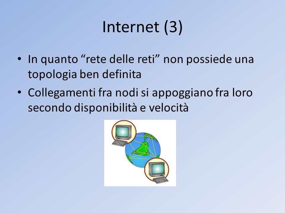 Internet (3) In quanto rete delle reti non possiede una topologia ben definita.