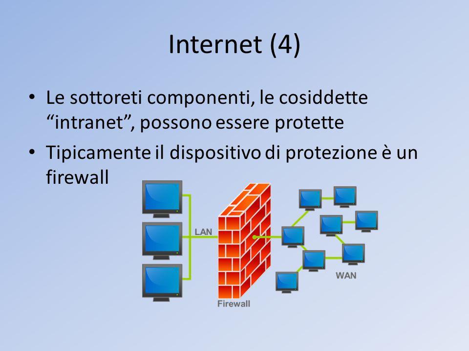 Internet (4) Le sottoreti componenti, le cosiddette intranet , possono essere protette.