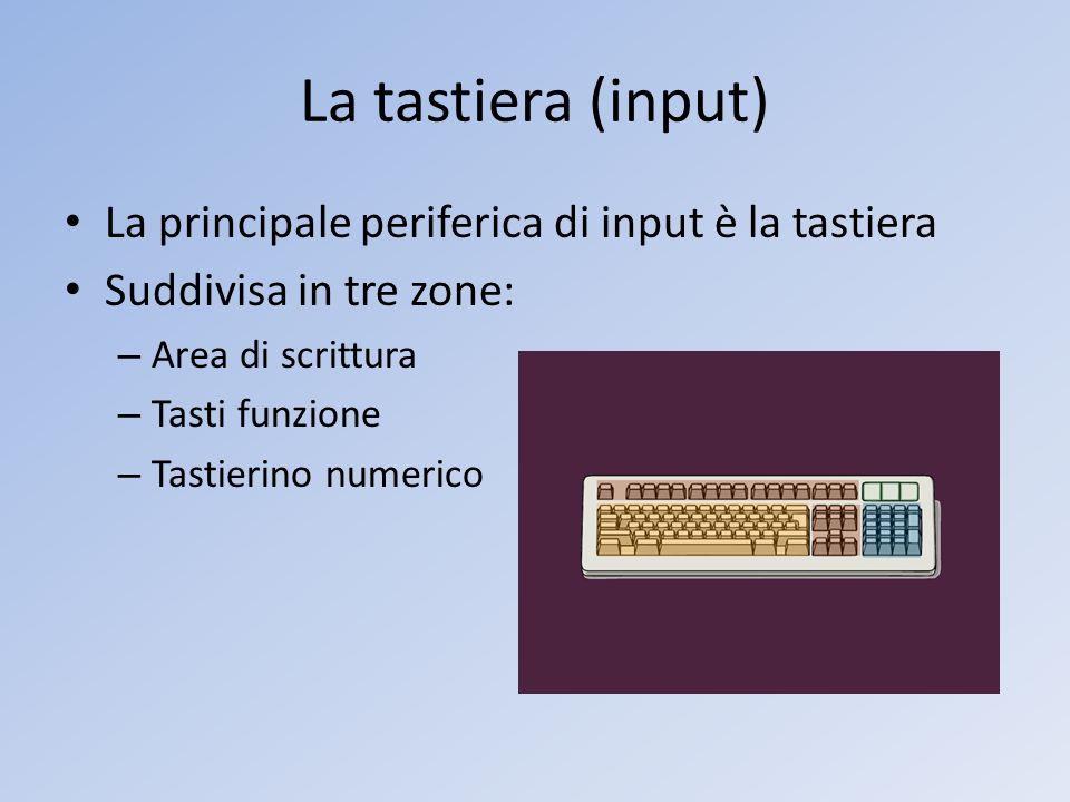 La tastiera (input) La principale periferica di input è la tastiera