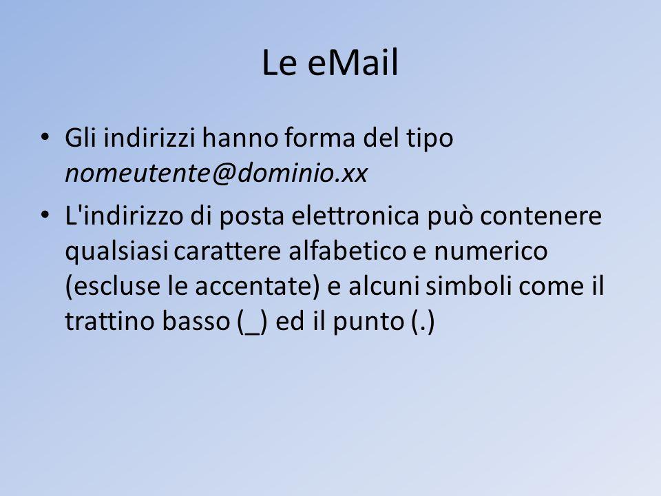 Le eMail Gli indirizzi hanno forma del tipo nomeutente@dominio.xx