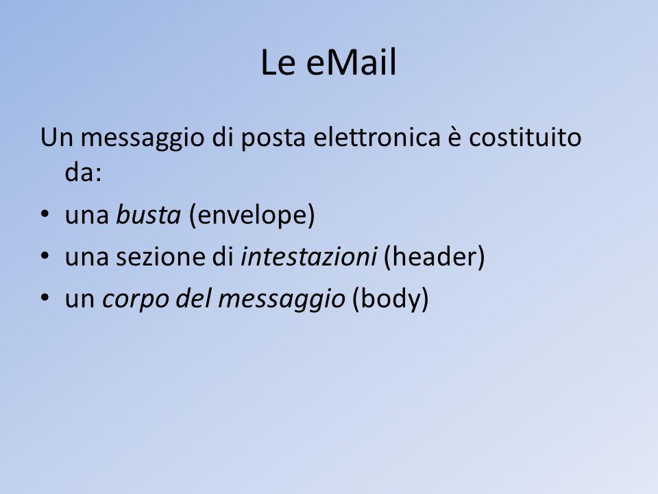 Le eMail Un messaggio di posta elettronica è costituito da: