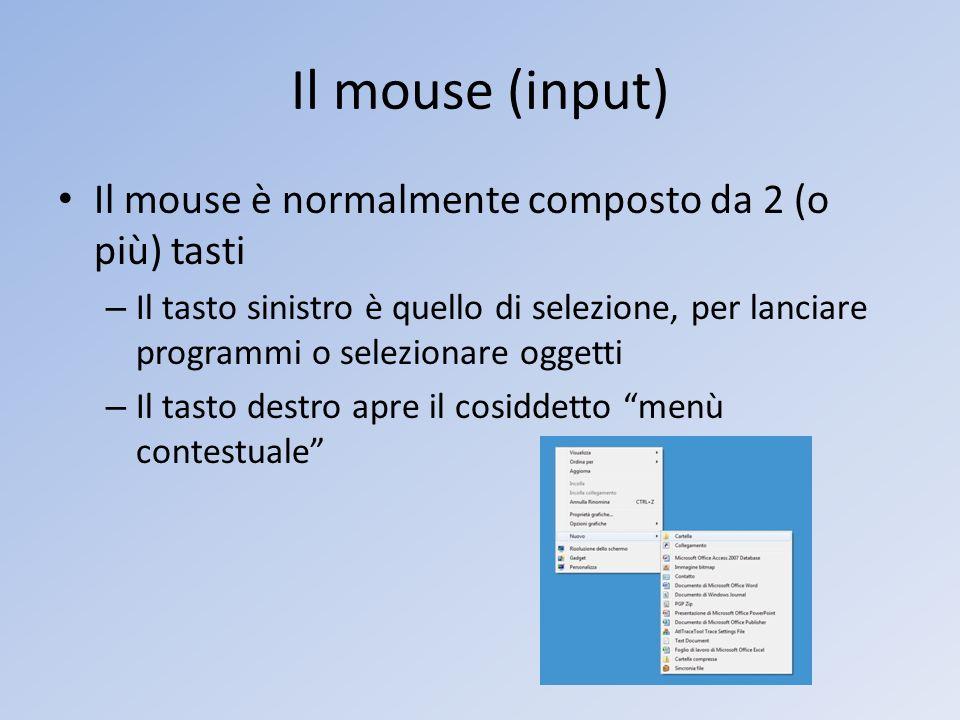 Il mouse (input) Il mouse è normalmente composto da 2 (o più) tasti