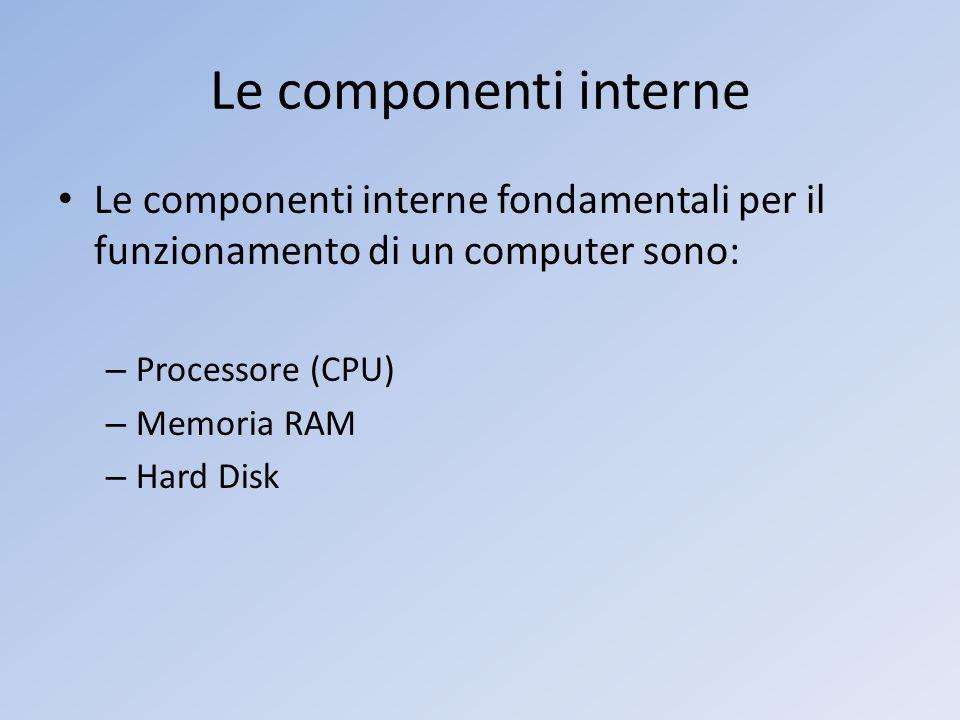 Le componenti interne Le componenti interne fondamentali per il funzionamento di un computer sono: Processore (CPU)