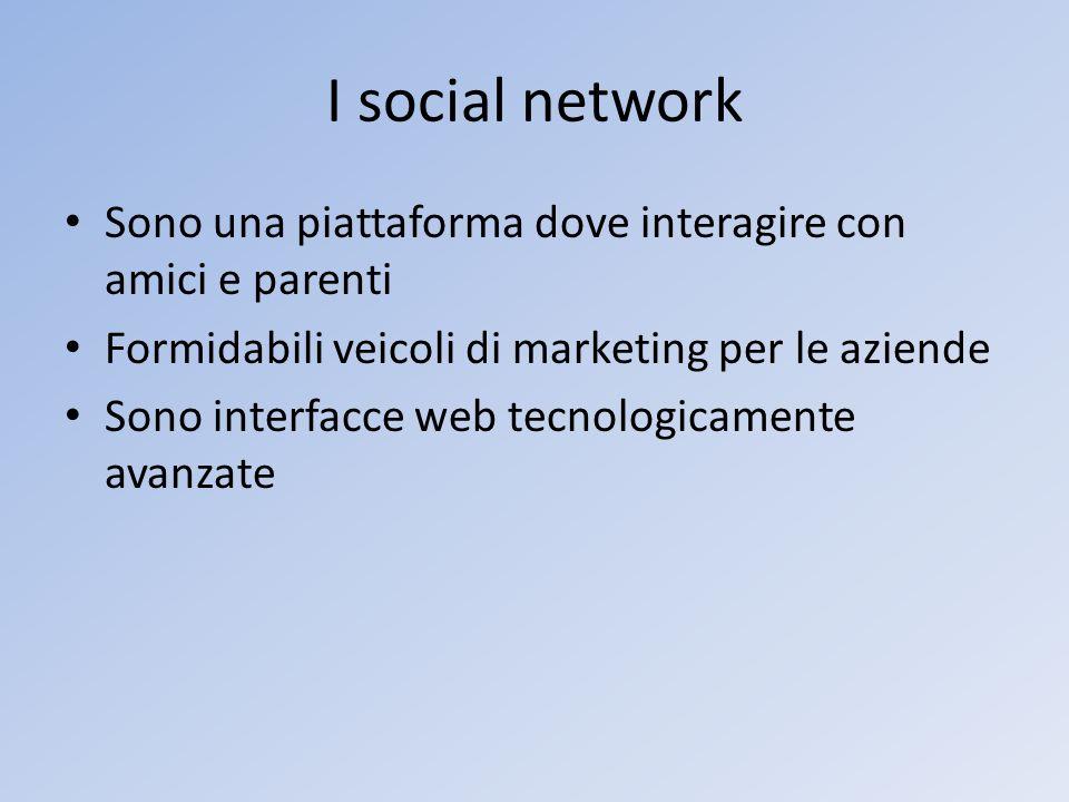 I social network Sono una piattaforma dove interagire con amici e parenti. Formidabili veicoli di marketing per le aziende.