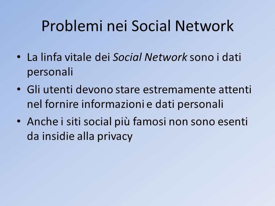 Problemi nei Social Network