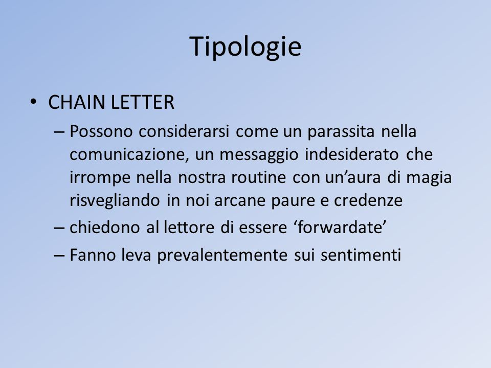 Tipologie CHAIN LETTER