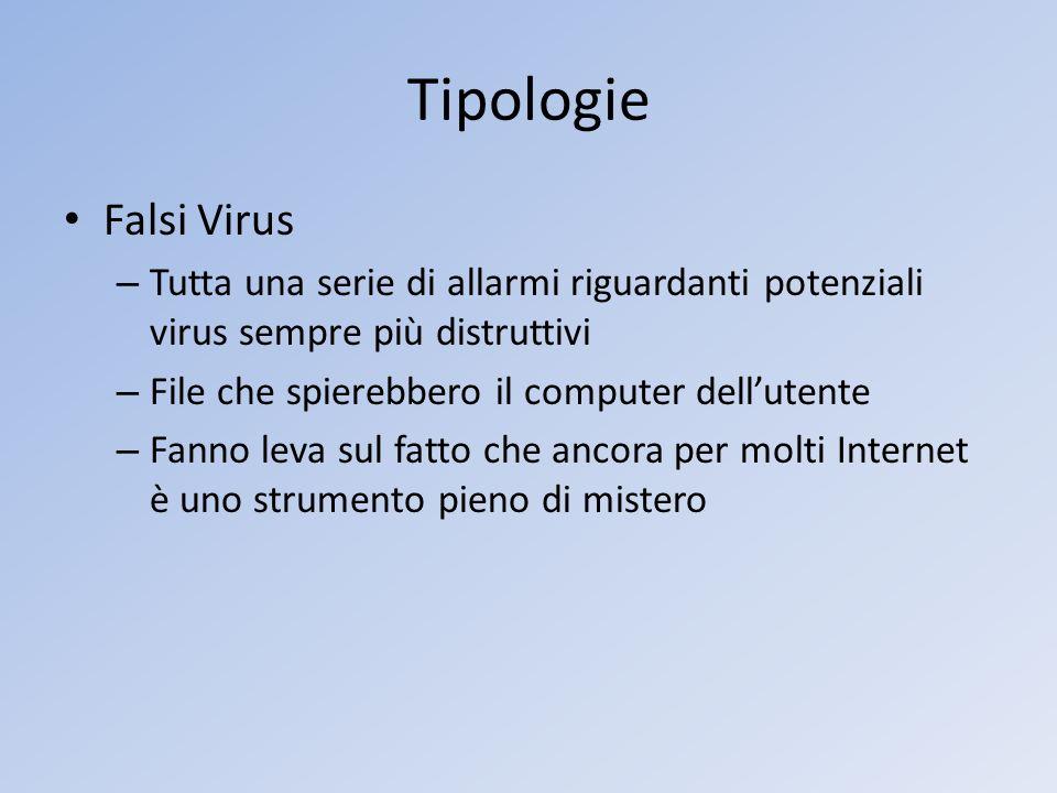 Tipologie Falsi Virus. Tutta una serie di allarmi riguardanti potenziali virus sempre più distruttivi.