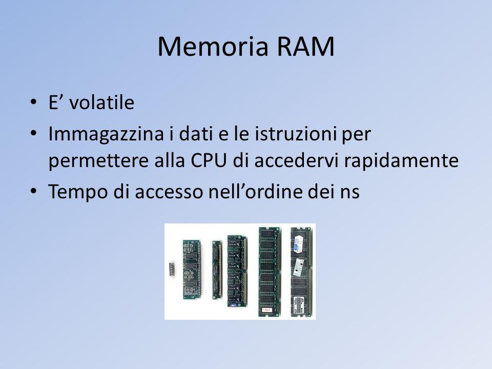 Memoria RAM E' volatile