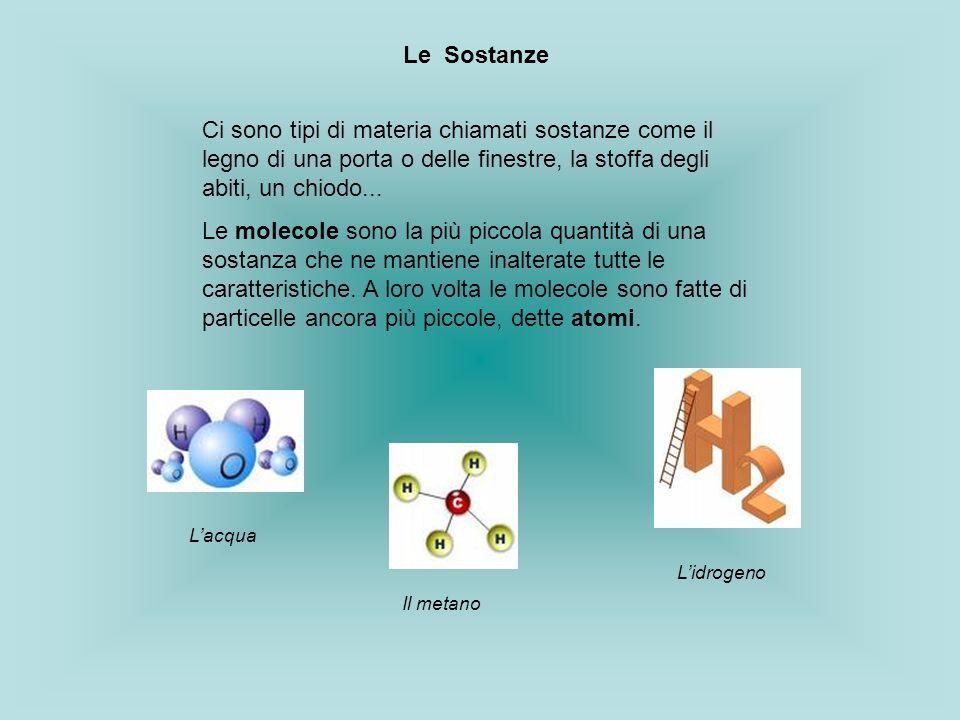 Le SostanzeCi sono tipi di materia chiamati sostanze come il legno di una porta o delle finestre, la stoffa degli abiti, un chiodo...
