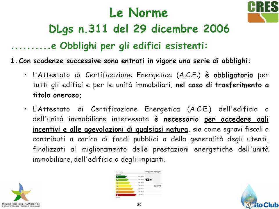 Le Norme DLgs n.311 del 29 dicembre 2006