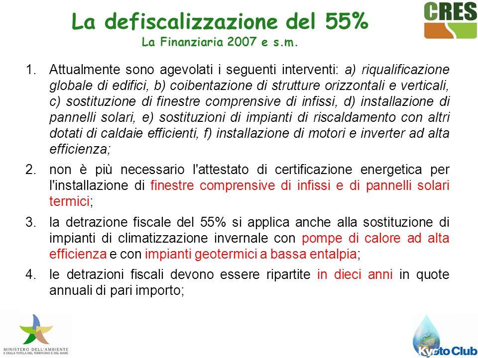 La defiscalizzazione del 55% La Finanziaria 2007 e s.m.