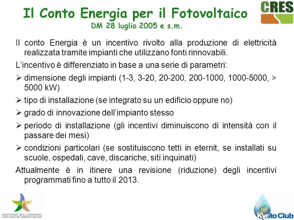 Il Conto Energia per il Fotovoltaico DM 28 luglio 2005 e s.m.