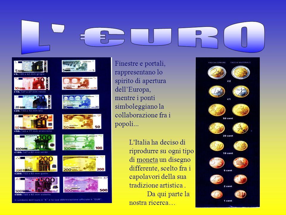 L €URO Finestre e portali, rappresentano lo spirito di apertura dell'Europa, mentre i ponti. simboleggiano la collaborazione fra i popoli...