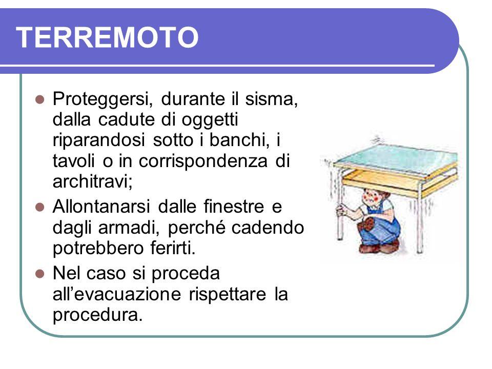 TERREMOTO Proteggersi, durante il sisma, dalla cadute di oggetti riparandosi sotto i banchi, i tavoli o in corrispondenza di architravi;