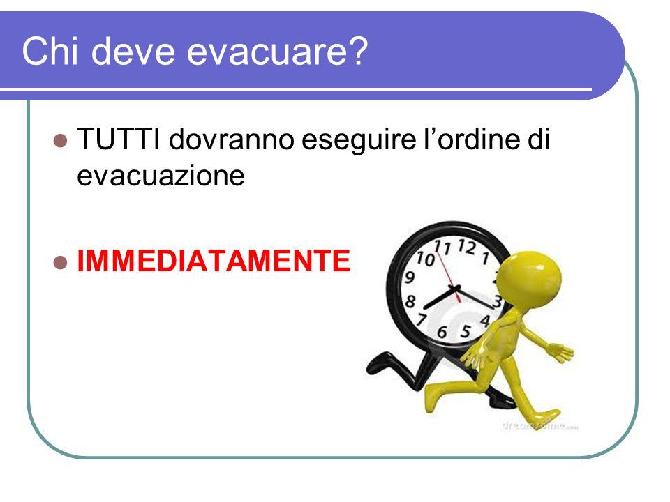 Chi deve evacuare TUTTI dovranno eseguire l'ordine di evacuazione