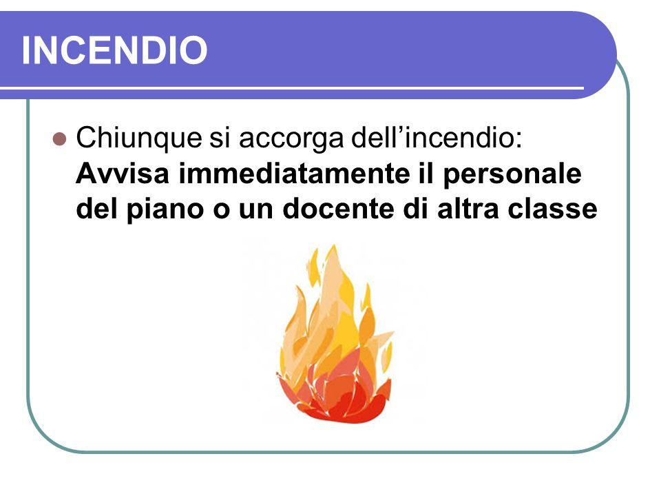 INCENDIO Chiunque si accorga dell'incendio: Avvisa immediatamente il personale del piano o un docente di altra classe.