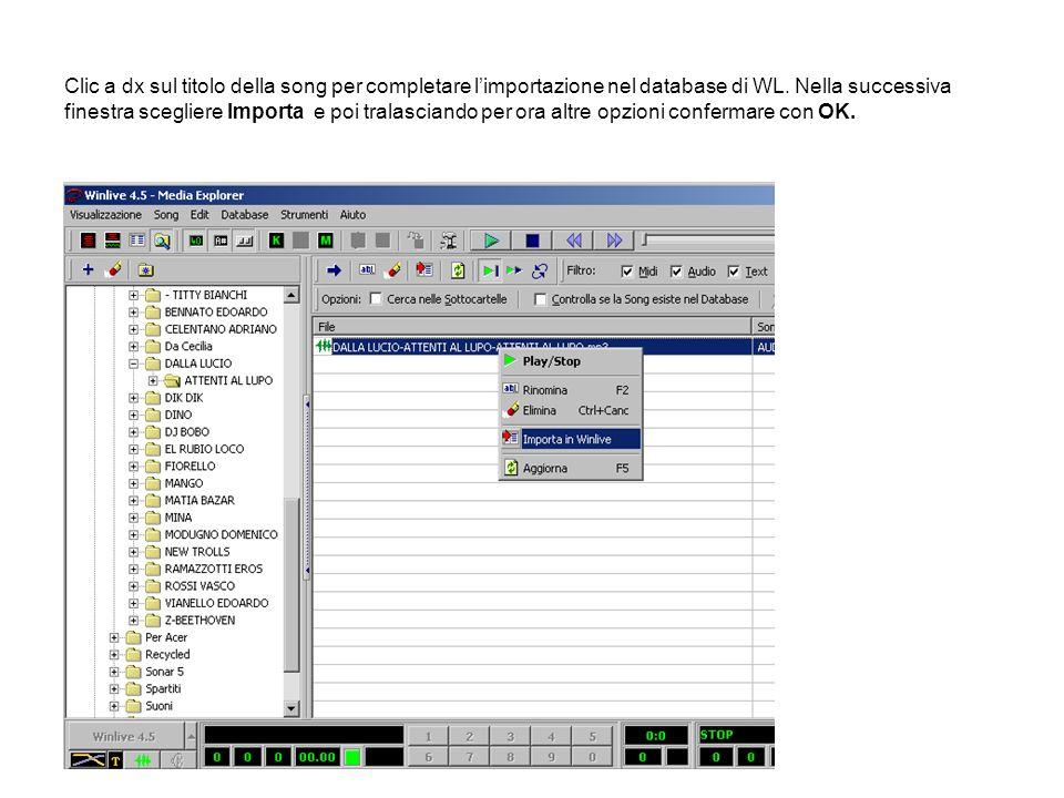 Clic a dx sul titolo della song per completare l'importazione nel database di WL.